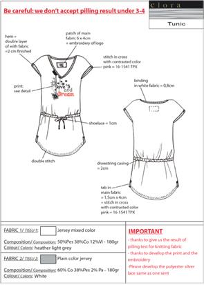Dossier technique mode tunique motif placé Unique en Serie Bureau de style